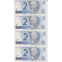 370 - 4 Cédulas De 2 Reais Fe Série Seguida Cc 8951 R$ 25,00