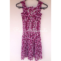 Vestido Lilás Matizado Godê Crochê Feito À Mão