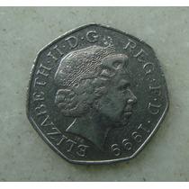 3350 - Inglaterra 50 Fifty Pence 1999, 28mm, Elizabeth