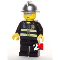 Lego Boneco Bombeiro Óculos - City - Frete R$5,00