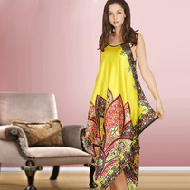 Vestido Camisola Tunica Cetim Estampa Vermelho Rosa Amarelo