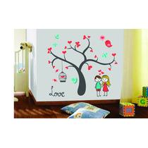 Adesivo Parede Árvore Galhos Coração Amor Casal Pássaro