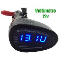 Frete Grátis - Voltímetro - Relógio - Temperatura - (12v Dc)