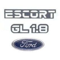 Kit Emblemas Ford Escort Gl 1.8 Até 1992 - Modelo Original