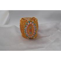 Bracelete Dourado Com Lindas Colagem Azuis E Rosa-biju.fina
