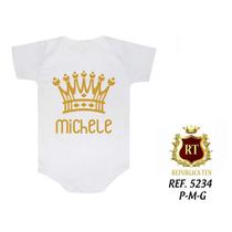 Body Infantil Coroas Princesas Personalizamos Nome Do Bebê