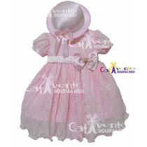 Vestido De Festa Infantil De Renda Luxo Com Chapeuzinho