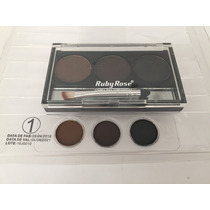Sombra Sobrancelha C/ 3 Cores Ruby Rose Kit Maquiagem Veja