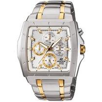 Relógio Ef-329sg Dourado Branco Aço Ef-329d Ef329
