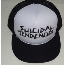 Boné Trucker Cap Suicidal Tendencies Branco E Preto