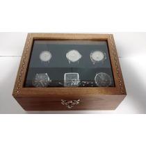 Estojo/caixa Para 6 Relógios ¿ Madeira Maciça ¿ Marchetaria