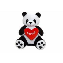 Urso Panda Com Coração Em Pelúcia Antialérgica 36 Cm