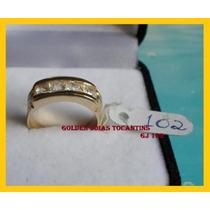 Anel C/ Brilhante Mais Barato Ouro 18k Com 10 Camadas Gj 102