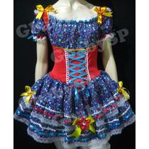 Vestido Junino Adulto Festa Junina Fantasia Caipira - Luxo