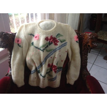 Blusa De Lã Angorá Feita A Mão Tricô Tam.42 A 44