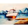 Pintura Em Tela Quadro Barco Montanhas - Frete Grátis