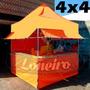 Lona 300 América Laranja E Branca Para Barraca De Feira 4x4