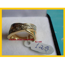 Anel C/ Brilhante Mais Barato Ouro 18k Com 10 Camada Gj 125