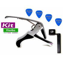 Kit Para Violão Capotraste + Encordoador + 4 Palhetas