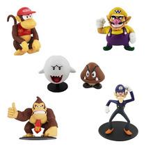 Kit 6 Bonecos Donkey Kong Figures Super Mario Nintendo Wario