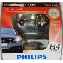 Kit Lampadas Philips X-treme Vision H4 100% Mais Luz