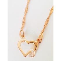 Cordão Rommanel Coração Love Vazado Pedra Cristal Namorados