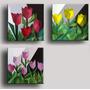 3 Quadros Painéis / Gravura Em Tecido Tela Cubismo Tulipas