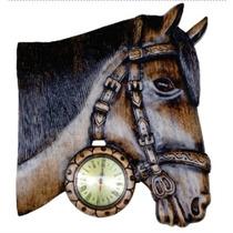 Relogio De Parade Cabeça De Cavalo Grande Em Madeira Novo