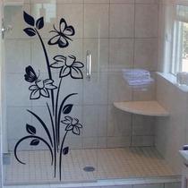 Adesivo De Vidro Decorativo Floral - Janela - Box - Parede