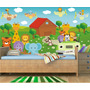 Papel Parede Infantil Painel Adesivo Animais Safari Zoo Md26