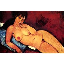 Mulher Nua Reclinada No Sofá Pintor Modigliani Tela Repro