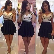 Vestido Feminino Curto Bicolor Balada Panicat Lançamento