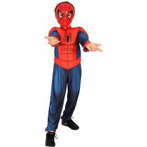 Fantasia Infantil Homem Aranha Com Máscara Musculos Estofado