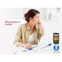 Fone Invisível Micro Ponto Borracha Bluetooth Espiã 2em1