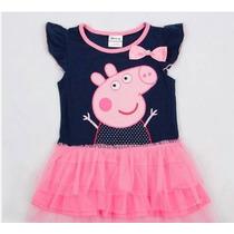 Peppa Pig Vestido Infantil Azul Tutu - Frete Gratis