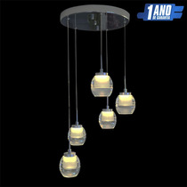 Pendente Led Lustre Cristal 5 Pêndulos 510 Regulavel - 45w