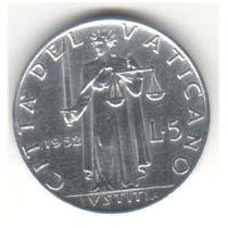 Moeda Vaticano - 5 Liras 1952 - Papa Pio X I I - Justitia