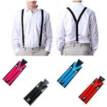 Homens Mulheres Moda Clip-on Suspensórios Elástica Em Forma