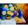 Quadros - Pintura Em Tela - Vaso De Rosas E Hortensias