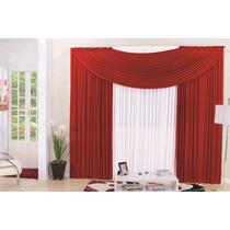 Cortina Nathali Vermelha 3,00x2,80 Varão Simples Quarto Sala