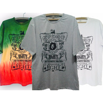 Camisa Camiseta Bob Marley Get Up Nas Cores Do Reggae