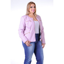 Jaqueta Plus Size Couro Eco Program Moda Tam 46,48 E 50