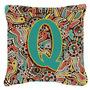 Letra Q Retro Tribal Alfabeto Inicial Lona Tecido Decorativa