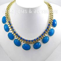 Maxi Max Colar Dourado Com Pedras Azul Klein Moda 2014 Royal