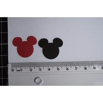 50 Recortes Aplique Papel Scrap Orelha Cabeça Mickey