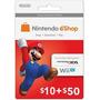 Cartão Nintendo 3ds Wii U Eshop Cash Card $60 ($50+$10) Usa