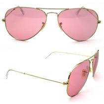 Ray Ban Aviador Rb3025 001/4b Dourado Pink Tamanho 62 Large