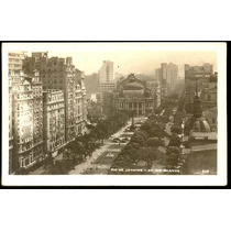 Cartão Postal Antigo Rio De Janeiro Av. Rio Branco