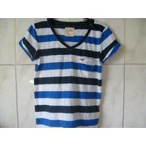 Camiseta Listrada Gola V Hollister P 60cm X 48cm