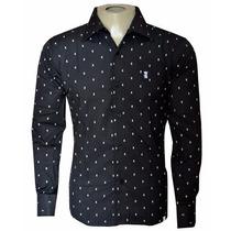 Camisa Social Masculina Sergio K Caveira Preta
